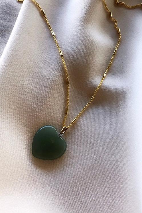 Yeşil Kalp Akik Kolye