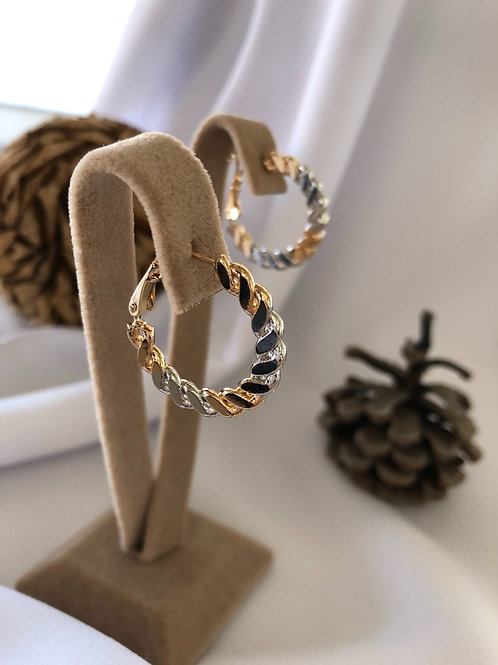 Gold Silver Zincir Motifli Küpeler