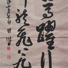 Calligraphy Text - Oxen and horses galloping through thousand miles, dragons and phoenixes flying graciously to celestial dwellings  牛奔马跃行千里,凤舞龙飞上九霄。