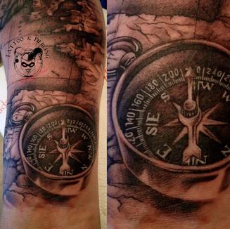 Tattoo Rovinj- Map with compass tattoo