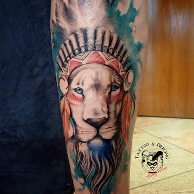 Tattoo Rovinj- lion watercolor tattoo
