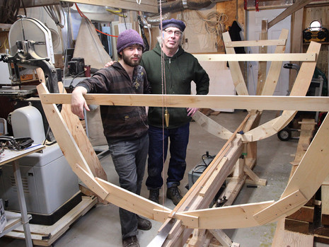 Master Boat Builder Jerome Canning and his son Reuben