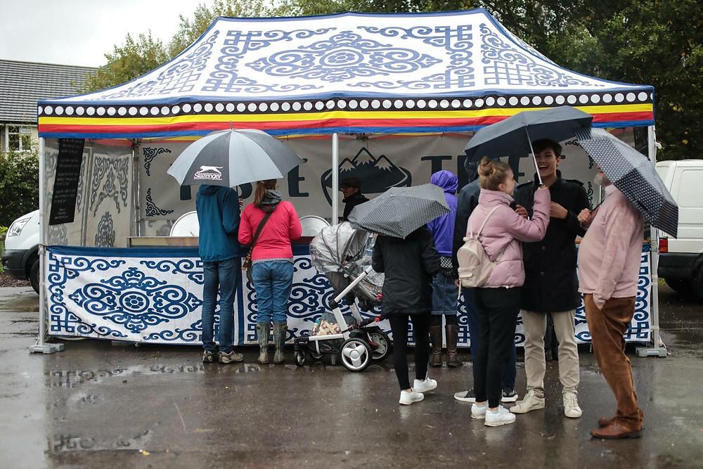 Taste Tibet at rainy Oxford City Farm Festival