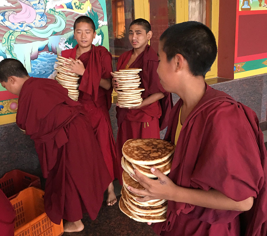 monks with sweet bread