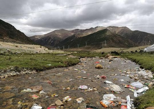 Polluted river, Tibet