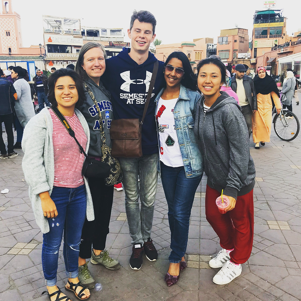 (Left to right) Manuela from Colombia, Gabby from USA, Jesse from Netherlands, Shayna from Singapore, and Nam from Cambodia in Jemaa El Fnaa Square