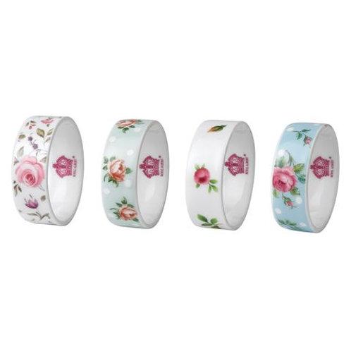 Floral Ceramic Napkin Rings x4