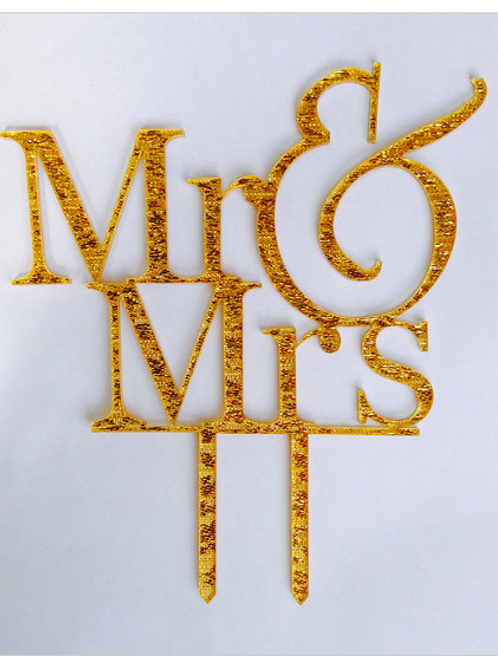 Gold sparkle Mr & Mrs Cake topper