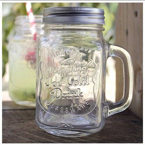 Mason Jar Tankards with handles & lids