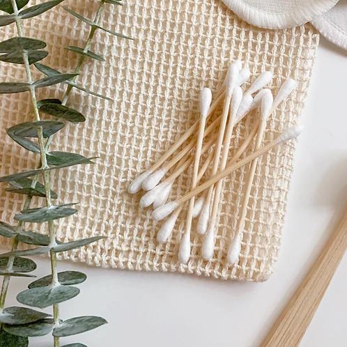 Coton-tiges en bambou et coton