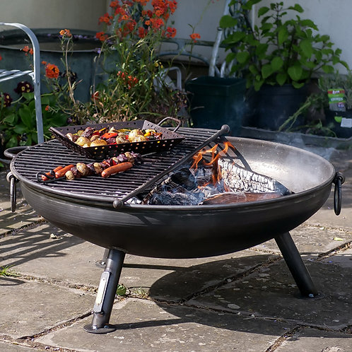 Celeste 80cm Fire Pit with Half Moon BBQ rack