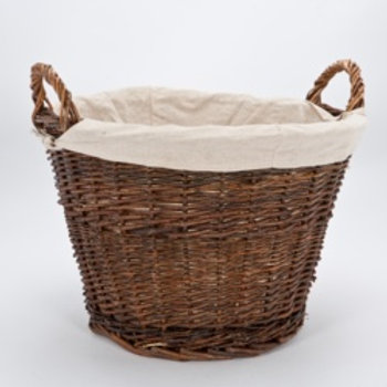 Wicker Log Basket with Removable Liner