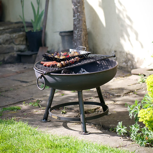 Classic 70 cm Fire Pit with Half Moon BBQ Rack and Lid
