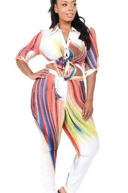 Multicolor two piece leggins set