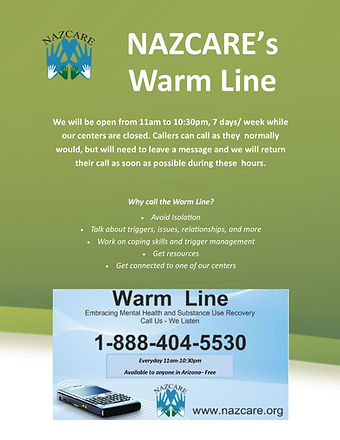 Warm Line extended hours flyer