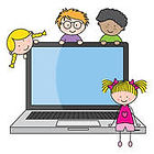 children-with-a-computer-eps-vector_k102