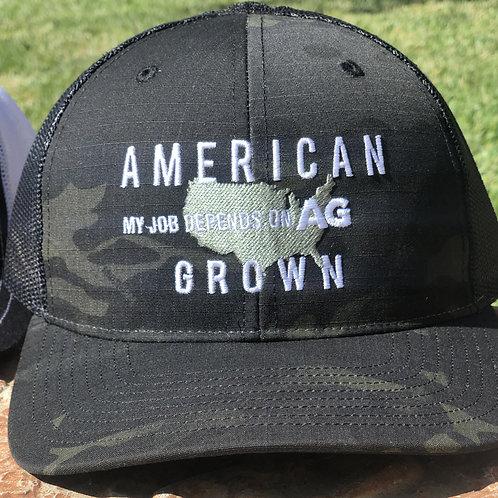 Black Camo American Grown: My Job Depends on Ag Hat