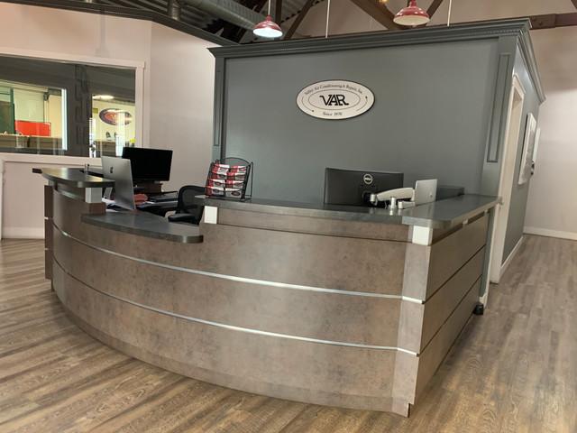 Business office desk fabrication