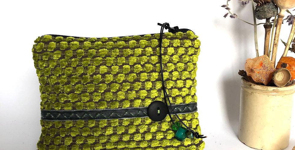 Lime honeycomb chenille velvet Celeste purse