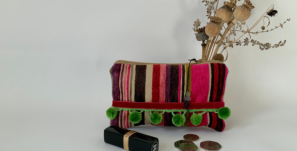 Pink candy stripe purse