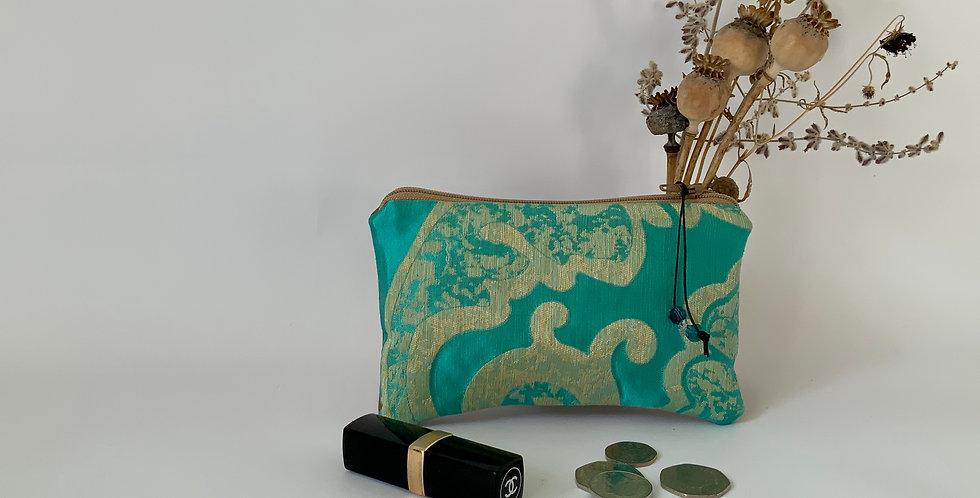 Turquoise Silk Brocade Purse