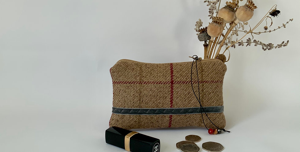 Red and taupe tweed purse