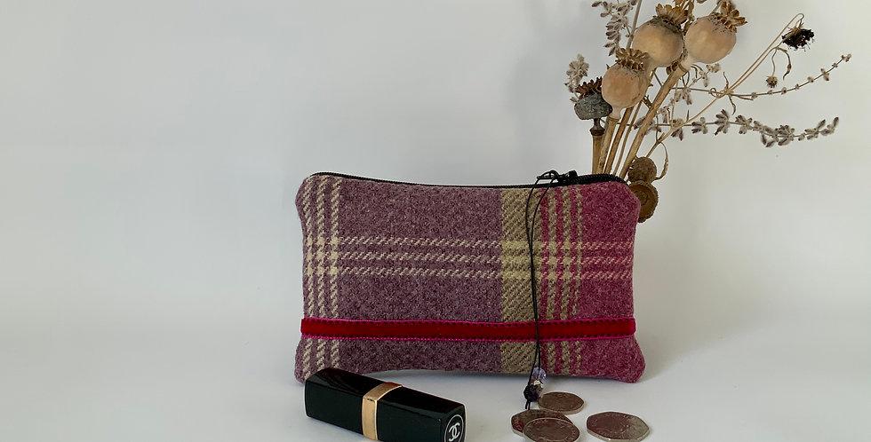 Purple tweed and velvet purse