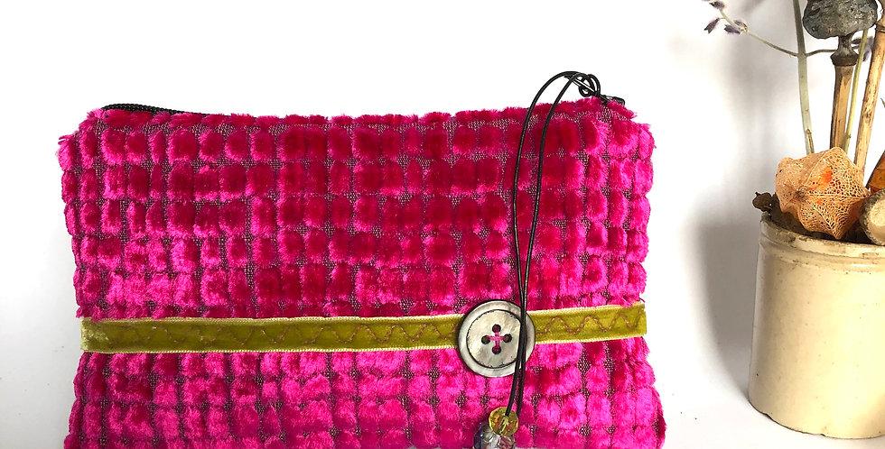 Pink Honeycomb chenille velvet Callisto purse