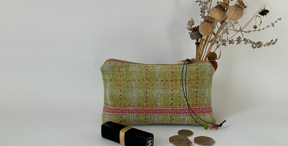 Pale green tweed and velvet purse