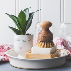 Pottery bowl holding soap dish, soap, scrub brush and a planter with a face on it, sitting on a tea