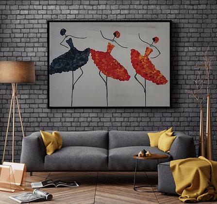הדמיה של ציור רקדניות בשחור ואדום