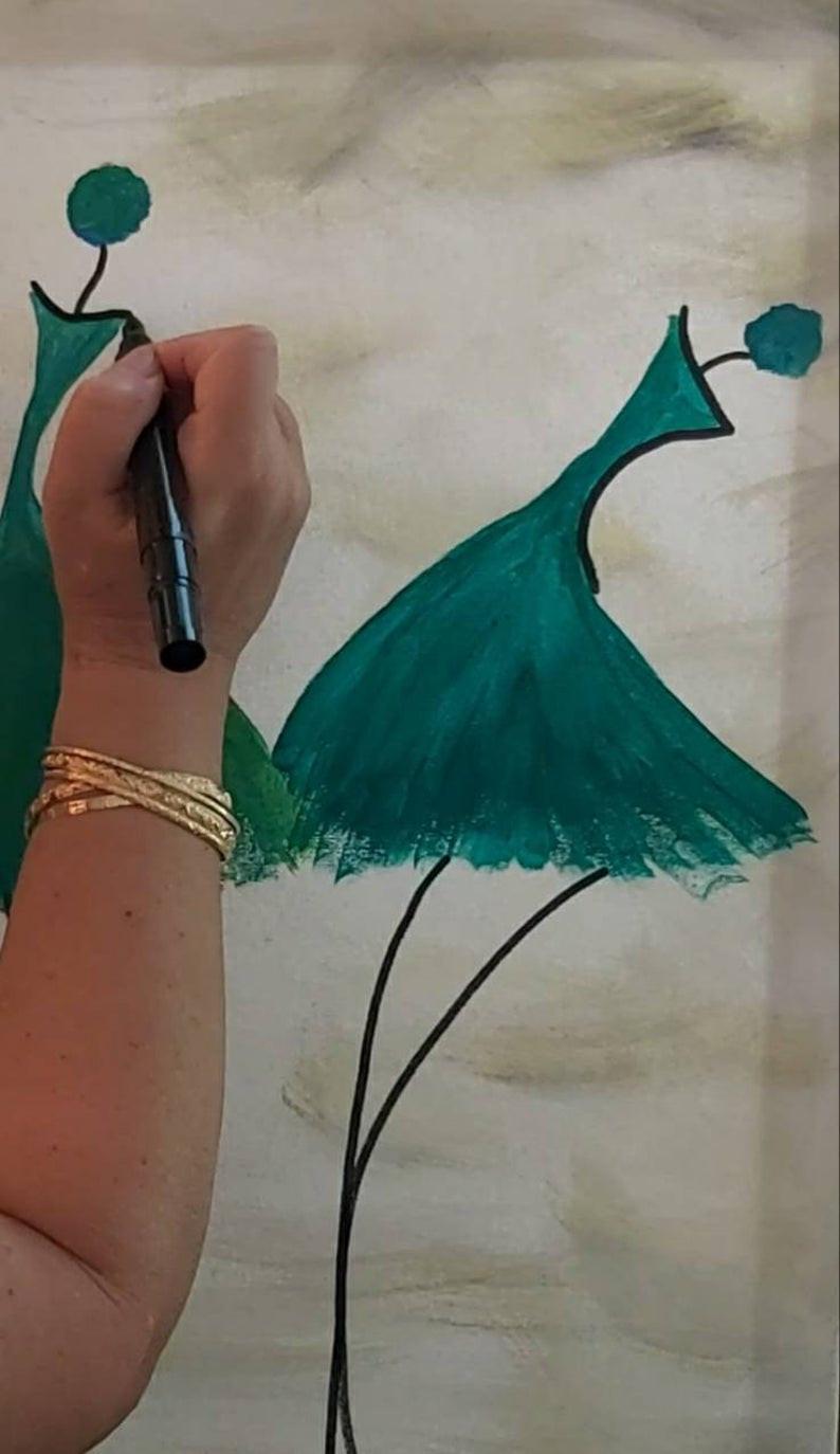 ציור של רקדניות, בתהליך, בצבע תורכיז