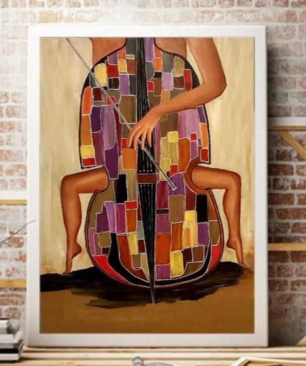 ציור צבעוני של צ'לו ורגלי אישה
