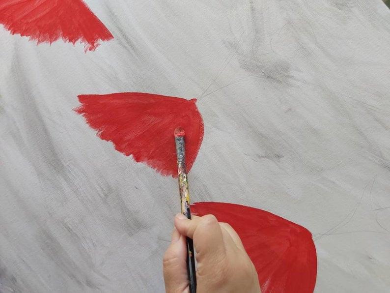 ציור של רקדניות, בתהליך, בצבע אדום