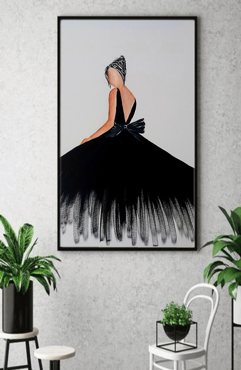ציור של אישה בשמלה אלגנטית שחורה