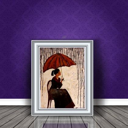 ציור של אישה בגשם