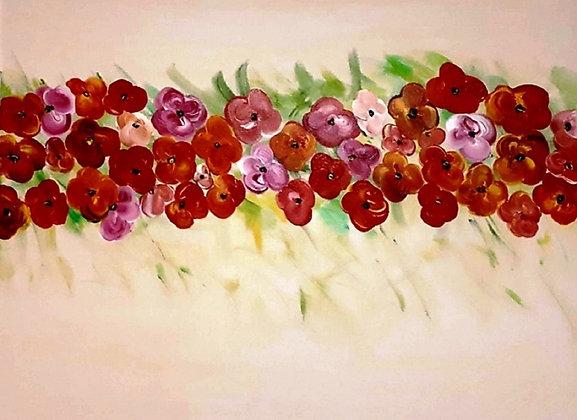 ציור של פרחים אדומים