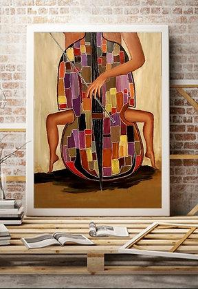 ציור בסגנון מודרני של צ'לו