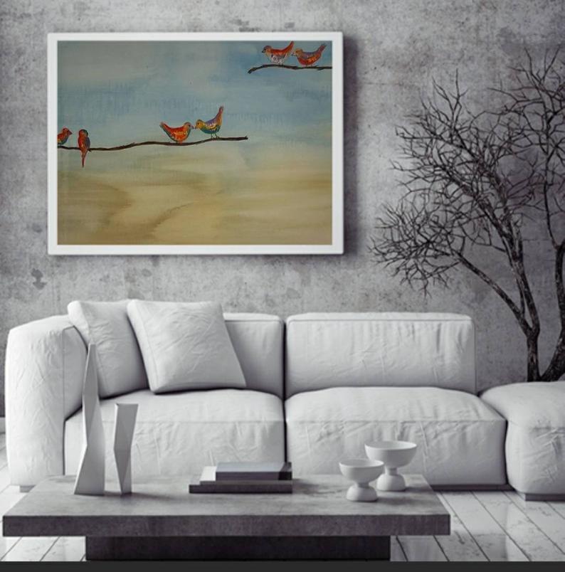 הדמיה של ציור של ציפורים צבעוניות על ענף