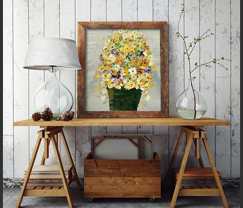 ציור של פרחים צהובים