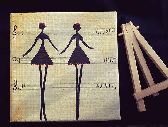 רקדניות בשחור ואדום מיניאטורות