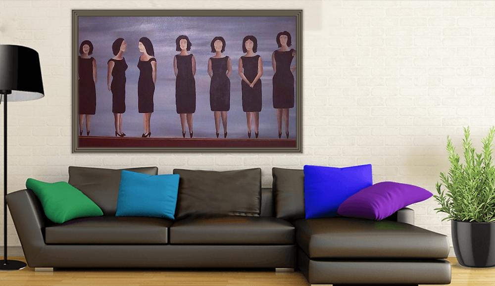 הדמיה של ציור של נשים בשמלה שחורה, בסלון גדול