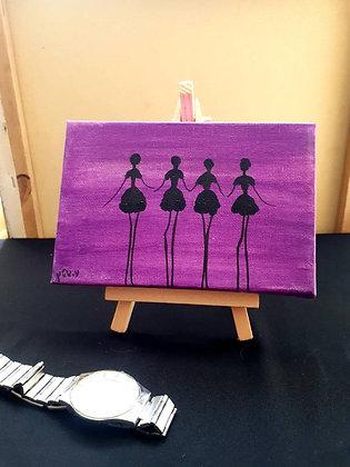 ציור של רקדניות על רקע סגול