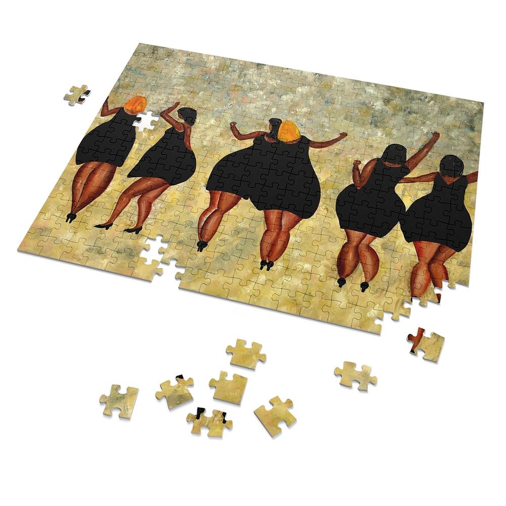 פאזל מציור שלי, נשים בשמלה שחורה