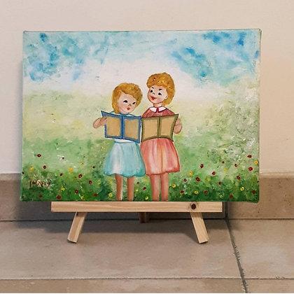 שתי ילדות קוראות ספר