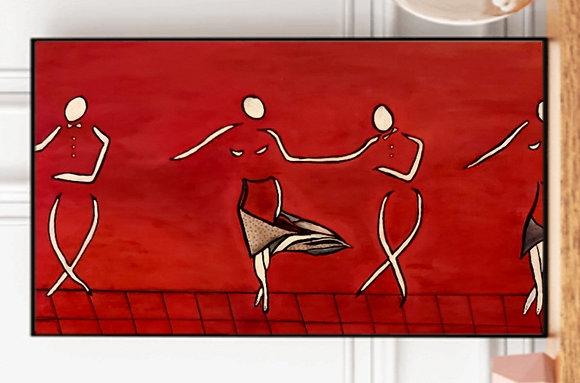 ריקוד בסגנון אבסטראקט על רקע אדום