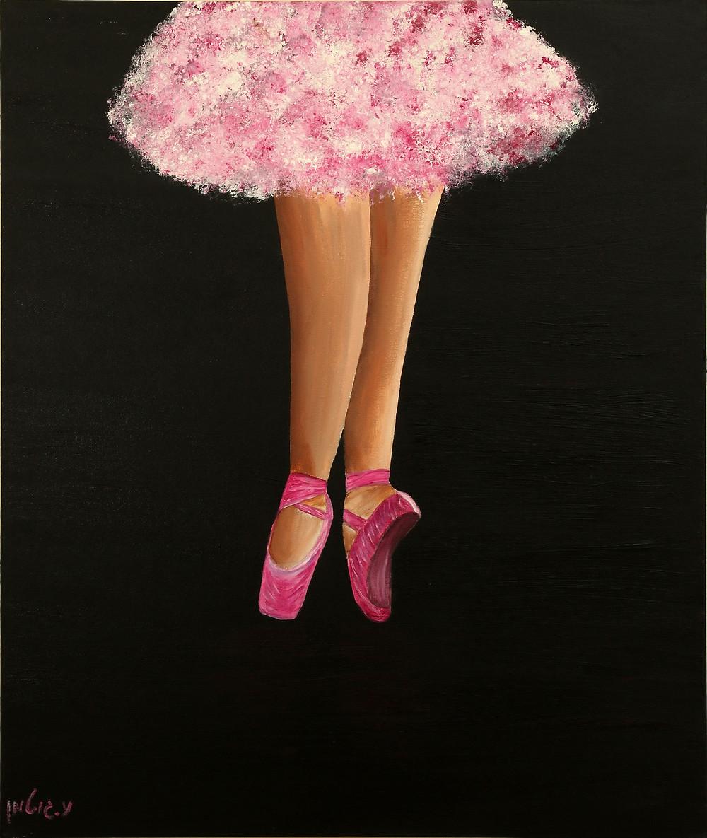 ציור של רגלי בלרינה בוורוד פוקסיה על רקע שחור