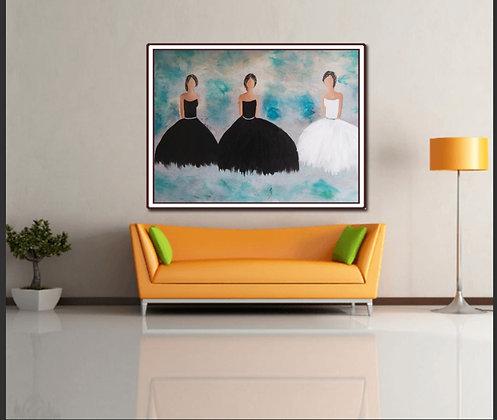 ציור של שלוש רקדניות בשחור ולבן על רקע תורכיז