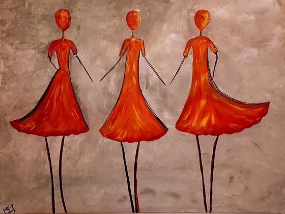 ציור של רקדניות כתומות