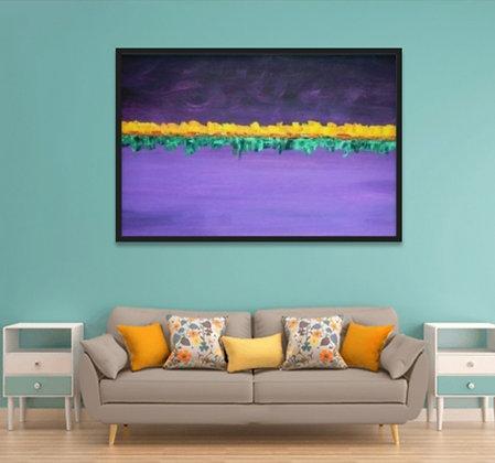 ציור מופשט בגווני סגול עם נגיעות צהוב וירוק